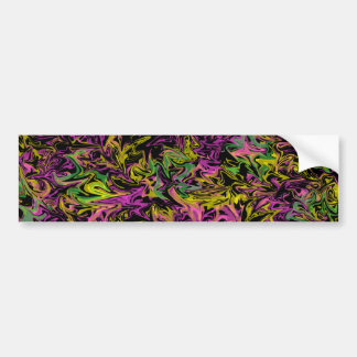 Bright Swirls of Pink Green and Yellow on Black Bumper Sticker