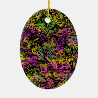 Bright Swirls of Pink Green and Yellow on Black Ceramic Ornament