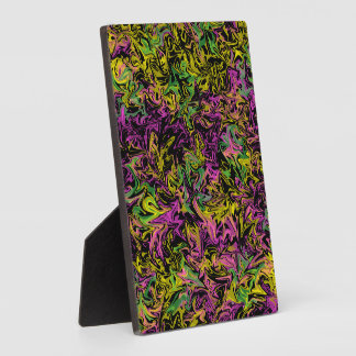 Bright Swirls of Pink Green and Yellow on Black Plaque
