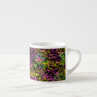 Bright Swirls of Pink Green & Yellow on Black Espresso Cup