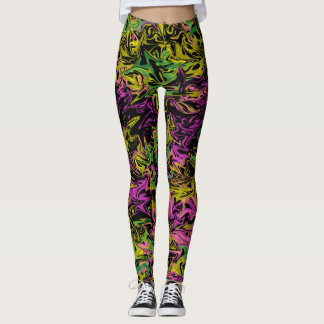 Bright Swirls of Pink Green & Yellow on Black Leggings