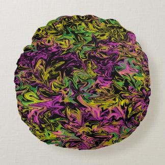 Bright Swirls of Pink Green & Yellow on Black Round Cushion