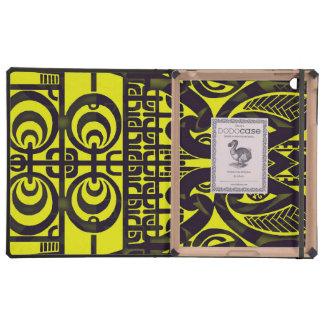 Bright symmetrical tribal Marquesas tattoo design iPad Folio Case