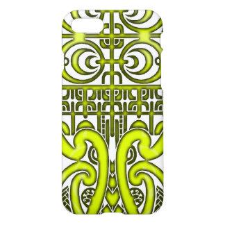 Bright symmetrical tribal Marquesas tattoo design iPhone 7 Case