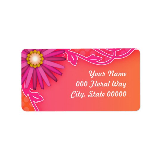 Bright Tangerine Orange and Pink Wedding Address Label