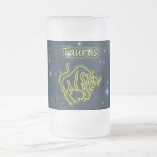 Bright Taurus Frosted Glass Beer Mug