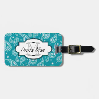 Bright Teal and White Paisley Luggage Tag