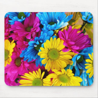 Bright Teal Hot Pink Yellow Daisies Flowers Gifts Mousepads