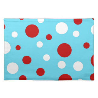 Bright Teal Turquoise Red White Polka Dots Pattern Placemat