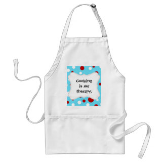 Bright Teal Turquoise Red White Polka Dots Pattern Standard Apron