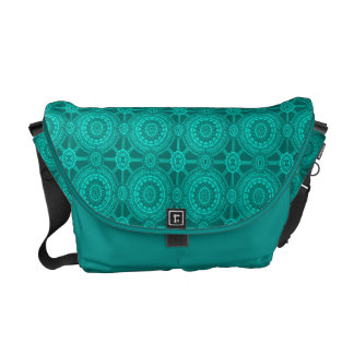 Bright Teal Vintage Geometric Circles Commuter Bags