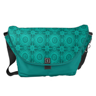 Bright Teal Vintage Geometric Circles Messenger Bags
