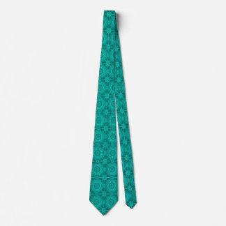 Bright Teal Vintage Geometric Circles Tie
