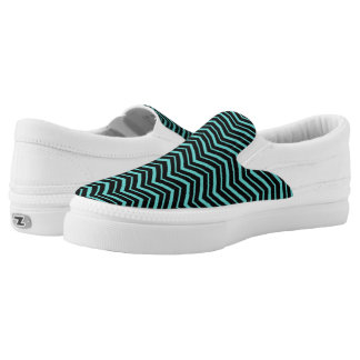 Bright Teal Zig Zag Striped Geometric Pattern Printed Shoes