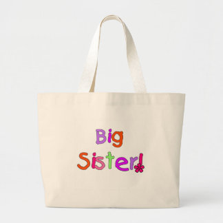 Bright Text Big Sister Large Tote Bag