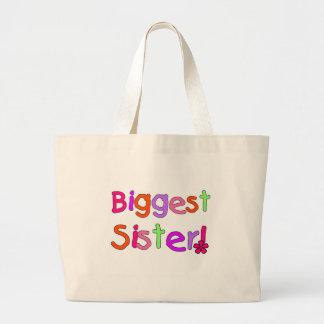 Bright Text Biggest Sister Large Tote Bag