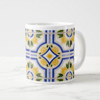 Bright tile pattern, Portugal Large Coffee Mug
