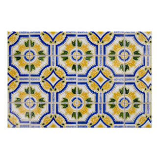 Bright tile pattern, Portugal Poster