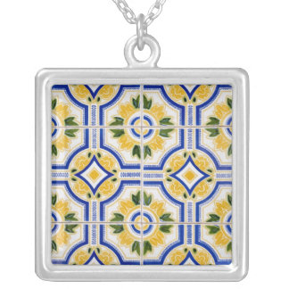 Bright tile pattern, Portugal Silver Plated Necklace