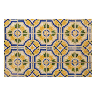 Bright tile pattern, Portugal Wood Canvases