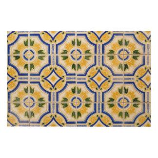 Bright tile pattern, Portugal Wood Wall Art