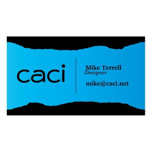 Bright Torn Aqua Business Card Template