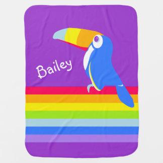 Bright toucan bird rainbow name blanket