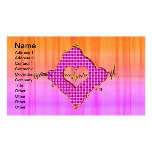 Bright Trendy Pink and Orange Heart Beat Business Card