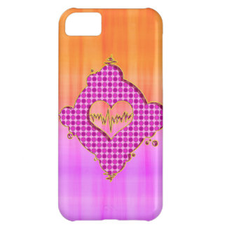 Bright Trendy Pink and Orange Heart Beat iPhone 5C Cases
