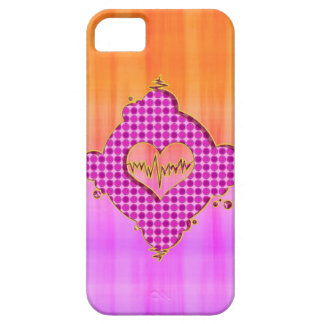 Bright Trendy Pink and Orange Heart Beat iPhone 5 Covers