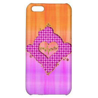Bright Trendy Pink and Orange Heart Beat Cover For iPhone 5C
