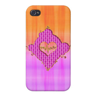 Bright Trendy Pink and Orange Heart Beat Cover For iPhone 4