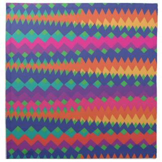 Bright Tribal Zigzag Colorful Primitive Pattern Printed Napkins