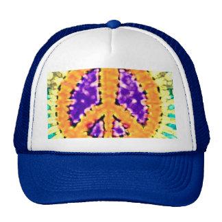 Bright Trippy Hippie Tie Dye Peace Sign Trucker Hats