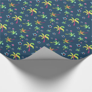 Bright tropical coconut trees and franianis wrapping paper