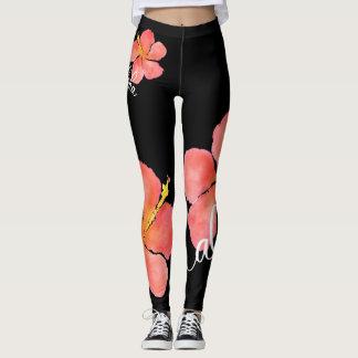 Bright, Tropical Floral Aloha Hibiscus Leggings