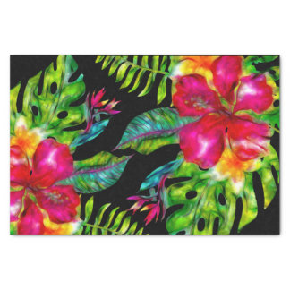 Bright Tropical Floral Hibiscus Leaves Luau Party Tissue Paper