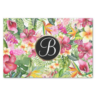 Bright Tropical Floral Monogram Letter Initial Tissue Paper