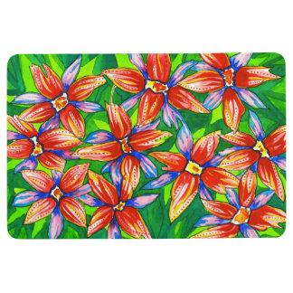 Bright Tropical Flower Watercolour Floor Mat