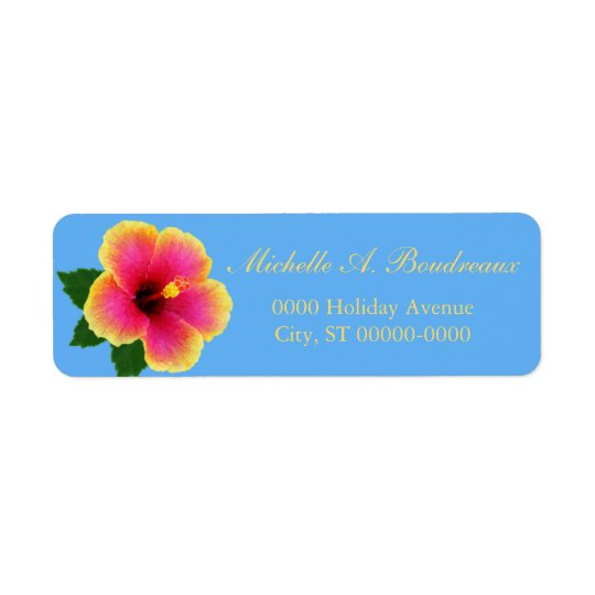 Bright Tropical Hibiscus Flower Return Address Label
