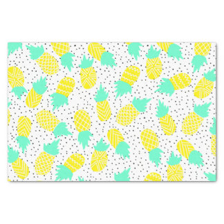 Bright tropical mint yellow pineapples polk dots tissue paper