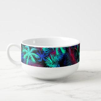 Bright tropical palms soup mug