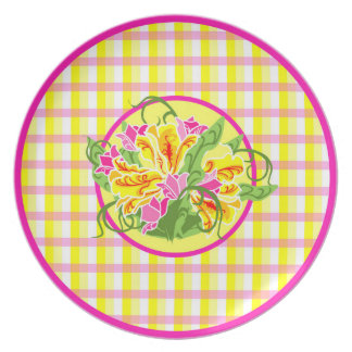 Bright Tulips on Plaid Designer Plate