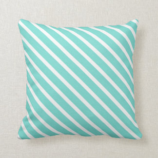 Bright Turquoise and White Stripes Throw Pillow