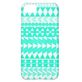 Bright Turquoise Aztec White iPhone 5C Case