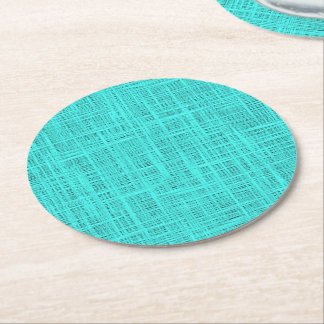Bright Turquoise Faux Jute Textile Weave Pattern Round Paper Coaster