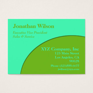Bright turquoise lime green Circle Business Card
