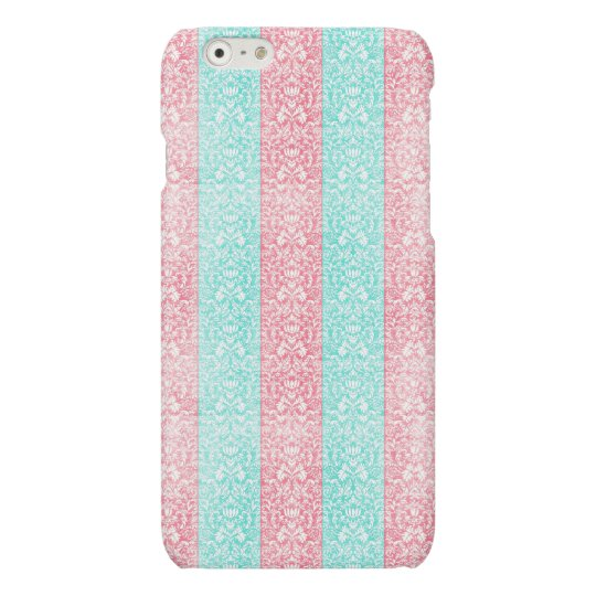 Bright Turquoise Pink Blue Damask Kawaii