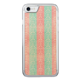 Bright Turquoise Pink Blue Damask Kawaii Carved iPhone 8/7 Case