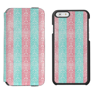 Bright Turquoise Pink Blue Damask Kawaii Incipio Watson™ iPhone 6 Wallet Case